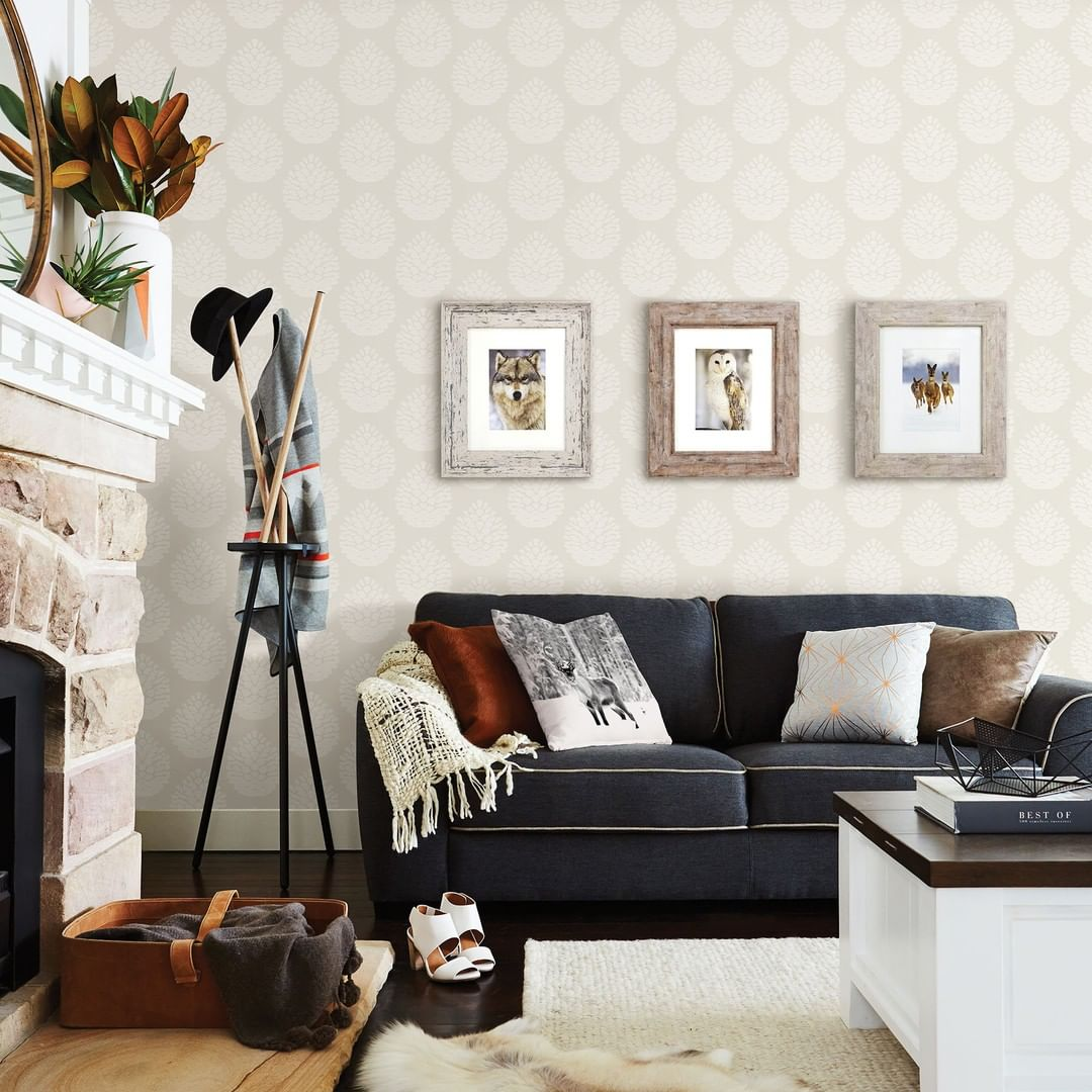 Neutral Wallpaper In Living Room