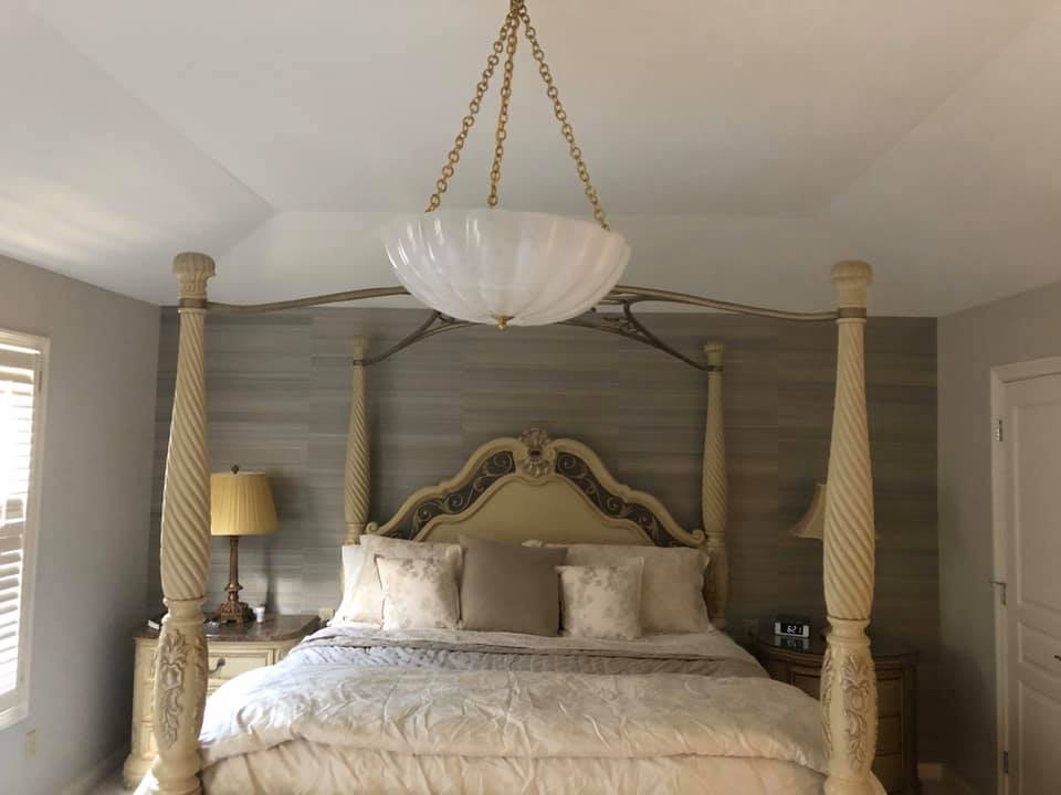 Phillip Jeffries Silk Grasscloth Wallpaper In Bedroom