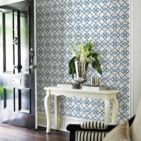 atrium blue trellis wallpaper - Trellis Wall Paper