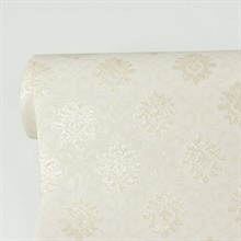 Madelyn Cream Small Damask Wallpaper