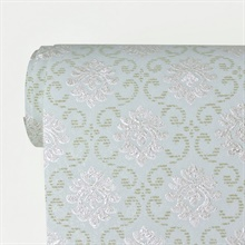 Madelyn Turquoise Small Damask Wallpaper