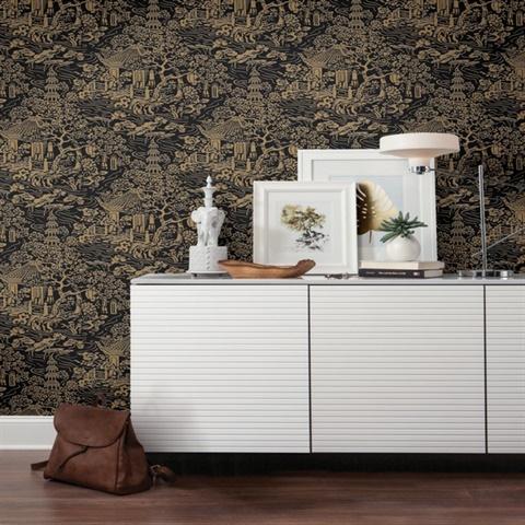 Af6577 Black Gold Chinoiserie Wallpaper