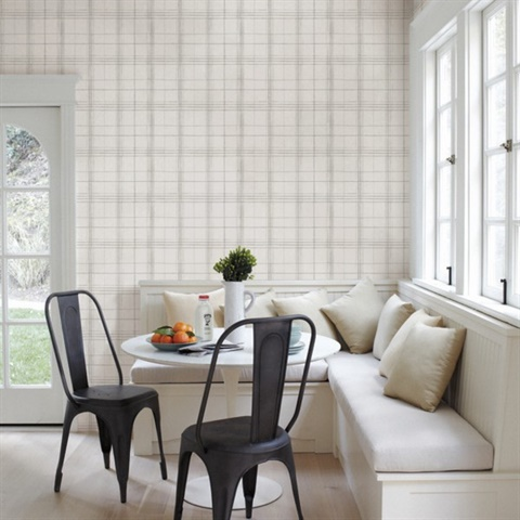 Fh4019 Grey White Farmhouse Plaid Wallpaper