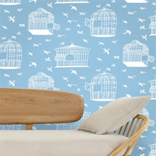 Our Adventure is about to Begin - Sky Blue colourway wallpaper