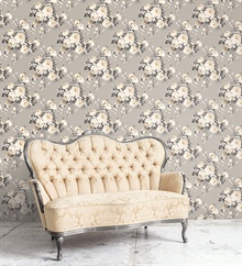 Grey & Beige Grand Floral Wallpaper , MH36505