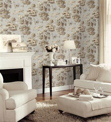 Classic French Countryside Grey & Green Toile Wallpaper , MH36514