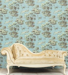 Classic French Countryside Turquoise  Toile Wallpaper , MH36517