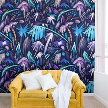 Purple Expressive Tropical Palms Wallpaper