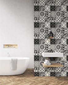 Black and White Graphic Tile Peel and Stick Wallpaper, NW30300