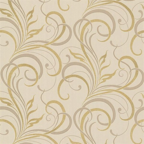 Rauda Taupe Modern Scroll