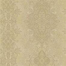 Benedict Gold Ornate Paisley Stripe