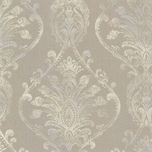 Noble Taupe Ornate Damask