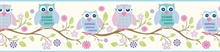Winnifred Blue Owlets And Blooms Border