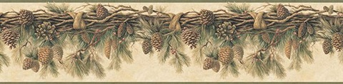 Wyola Olive Pinecone Forest Border