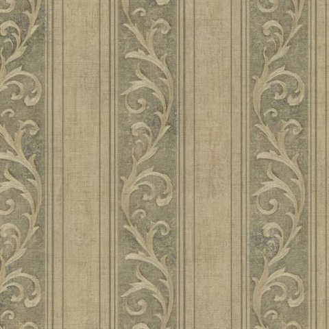 Farnworth Olive Scroll Stripe 2601 20838