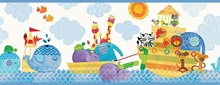 Noah and Friends Blue Animal border