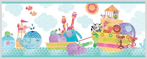 Noah and Friends Aqua Animal Border
