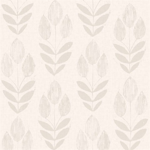 Block Print Wallpaper scandinavian grey block print tulip | 2535-20650