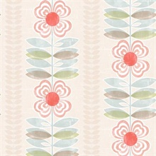 Flora Red Modern Floral Stripe