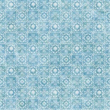 Shell Bay Blue Scallop Damask