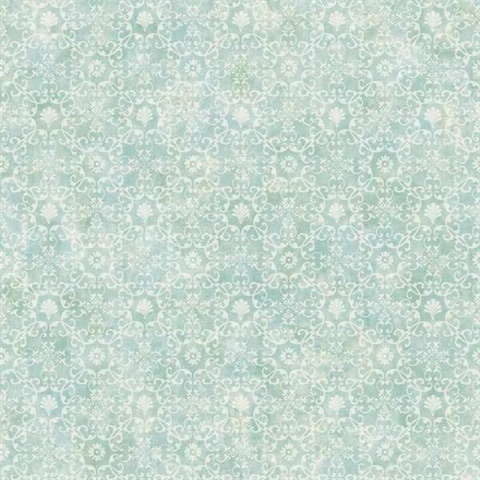Shell Bay Teal Scallop Damask