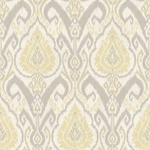 Raissa Grey Ikat Damask
