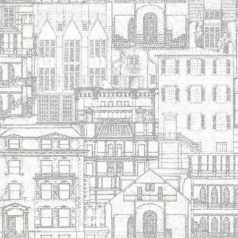 Facade Light Grey Vintage Blueprint