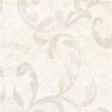 Plume Cream Modern Scroll Wallpaper