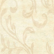 Plume Sand Modern Scroll Wallpaper