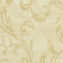 Plume Buttered Modern Scroll Wallpaper