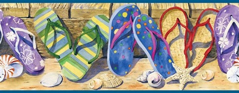 Brown Beach Sandals Border