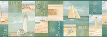 Green Coastal Breeze Collage Border