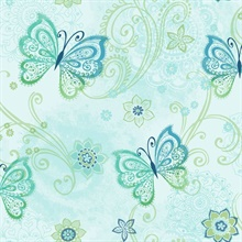 Fantasia Blue Boho Butterflies Scroll