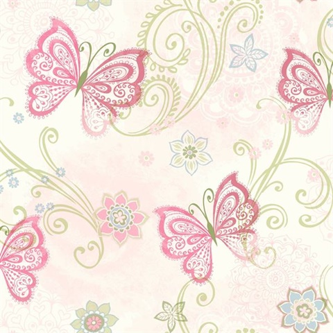 Fantasia Pink Boho Butterflies Scroll