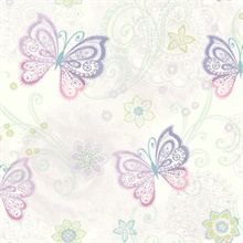 Fantasia Purple Boho Butterflies Scroll
