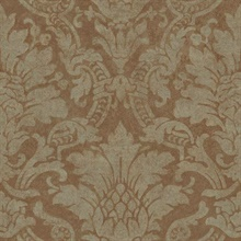 Cynthia Copper Distressed Damask Wallpaper