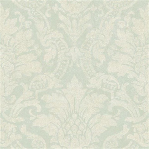 Cynthia Blue Distressed Damask Wallpaper