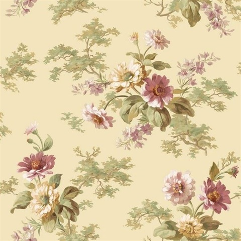 Julie Sand Floral Bouquet Wallpaper