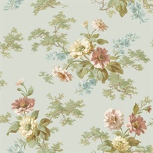 Julie Blue Floral Bouquet Wallpaper