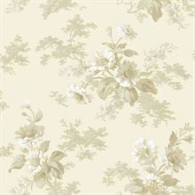 Julie Grey Floral Bouquet Wallpaper