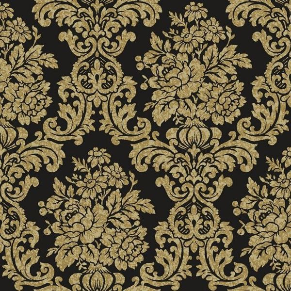Illume Black Damask Wallpaper