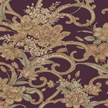 Wren Purple Jacobean Floral Mosaic Wallpaper