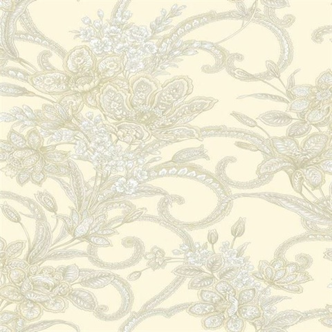 Wren Cream Jacobean Floral Mosaic Wallpaper