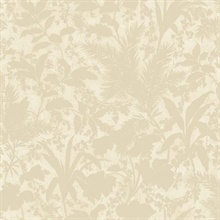 Fauna Beige Silhouette Leaves Wallpaper