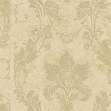 Irena Gold Delicate Damask Wallpaper