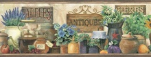 Marché Green Antique Herbs Portrait Border