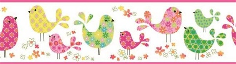 Partridge Pink Calico Birdies Toss Border