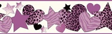 Diva Purple Cheetah Hearts Stars Border