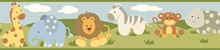 Simba Green Jungle Safari Cartoons Border