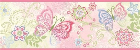 Fantasia Pink Boho Butterflies Scroll Border